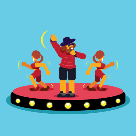 man singer on stage with two lady dancing colorful vector illustration.