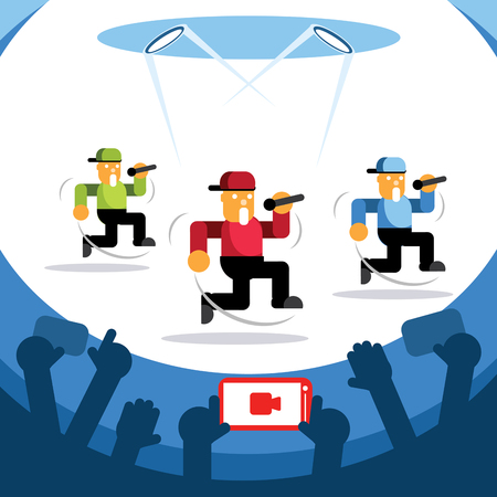 video streaming concert with three singers dancing colorful vector illustration