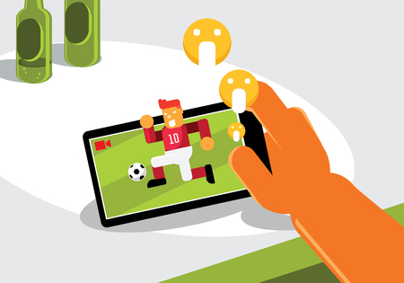 right hand hold black mobile live broadcasting soccer game on screen with emoticon vector illustration