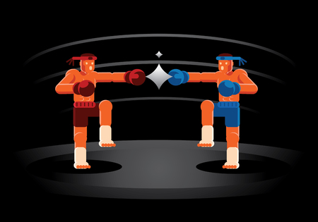 Muay Thai red and blue fighter on the ring vector illustration