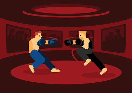 Mix martial art battle in red ring with two men fighting with fans cheer up Ilustracja