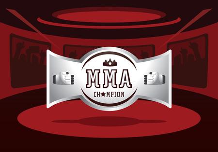 silver MMA champion badge design on red light ring vector illustration Ilustracja