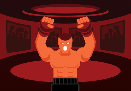 mix martial art fighter with black boxer and red glove roaring on the red ring with fans cheer up Ilustracja