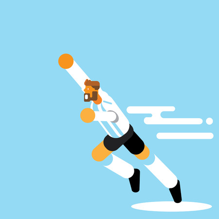 Beard Argentina soccer player celebration with hand in the air flat style vector illustration