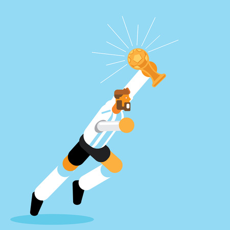 Argentina soccer player running celebration with golden trophy vector illustration Ilustracja