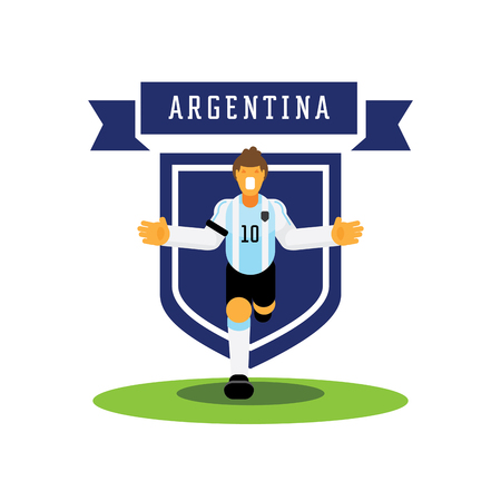 Number ten Argentina soccer player celebrate with team badge