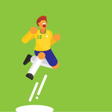 number ten Brazil soccer player jump celebration vector illustration on green background