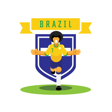 number seven Brazilian soccer player celebrate with team badge design with running celebration