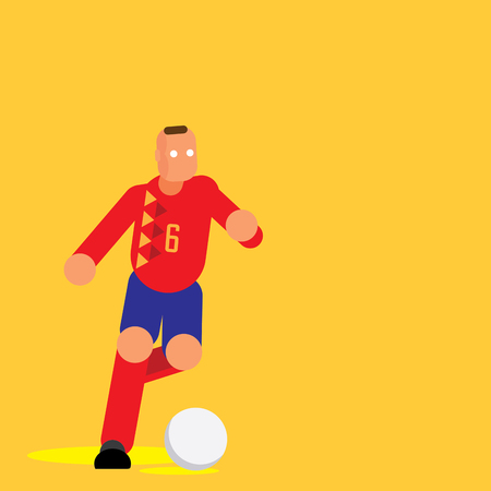 Spain player in red shirt dribbling ball flat vector illustration on yellow background