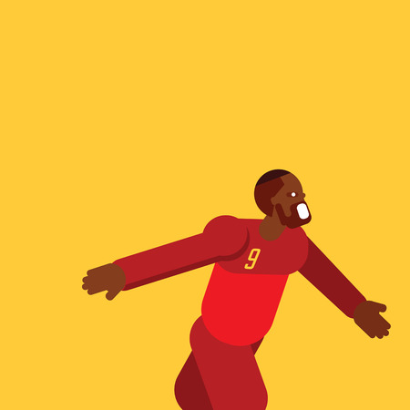 Vector illustration Belgium football player fly celebrate template with flat character design.