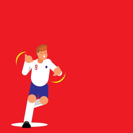 Number nine English football player dancing celebration template design with flat style. Ilustracja