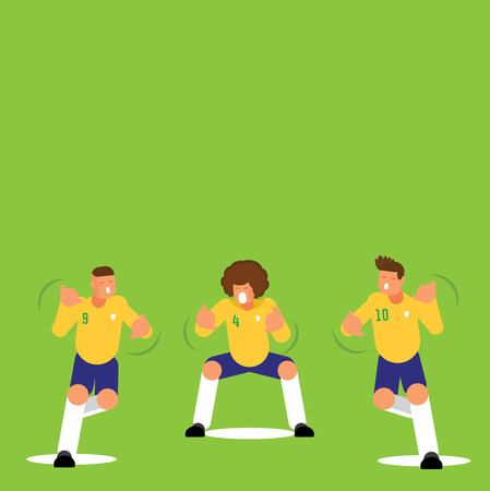Three Brazilian soccer players dancing celebration flat style character design template with green background.