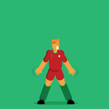 Red shirt Portugal soccer player celebration vector illustration flat character design