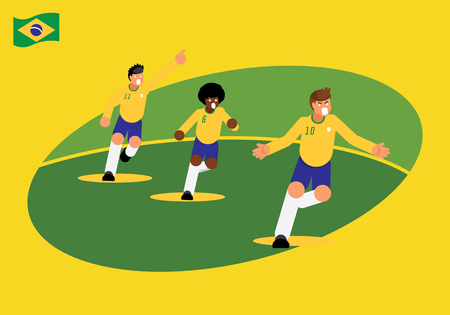 Brazil National footballers team celebration with running vector illustration on yellow background. Ilustracja