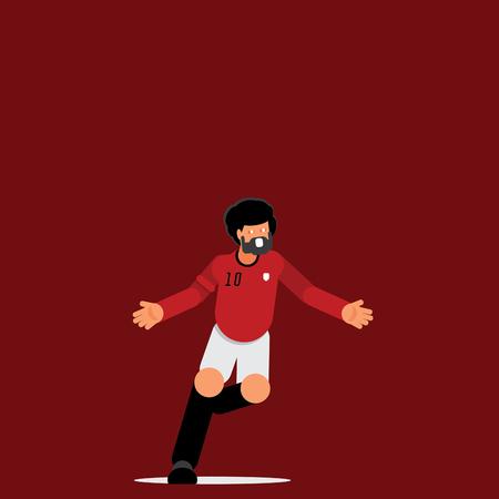 Number ten Egyptian footballer goal celebration with flying flat vector illustration. Ilustracja