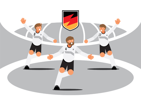 Germany football players team celebration with national badge vector illustration flat character design. Ilustracja