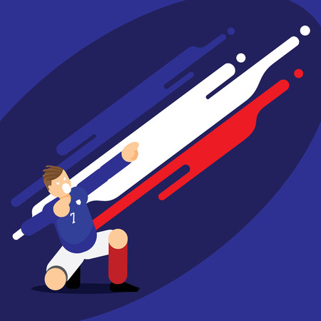 France soccer player dab celebration template design with flat character design