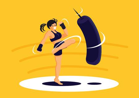 Sport girl exercise Muay Thai training with kneeling boxing sandbag for health vector illustration.
