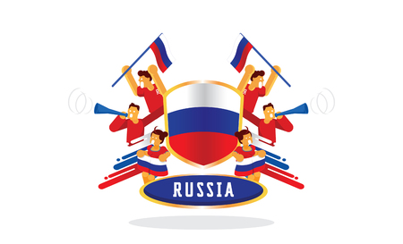 Russian fans cheer up with Russia nation badge design flat vector illustration Ilustracja