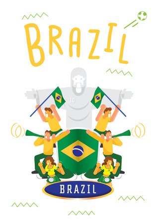 Brazilian fans cheer up template design with national flag flat vector illustration