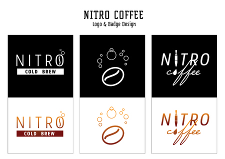 nitro coffee logo and badge design vector illustration with coffee bean,tap and gas