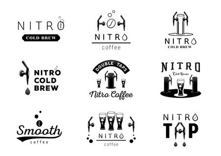 nitro cold brew coffee logo design black and white vector illustration Vettoriali