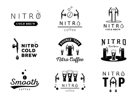 nitro cold brew coffee logo design black and white vector illustration 矢量图像
