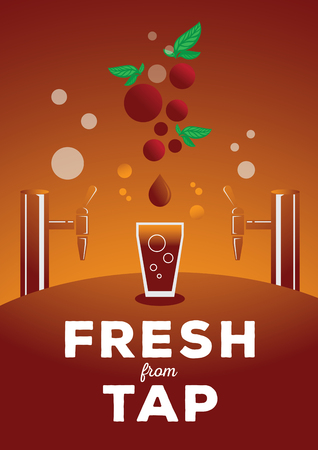 colorful fresh from tap flat style vector illustration with nitro coffee with glass ,cherry fruit coffee, coffee drop and tap Ilustracja