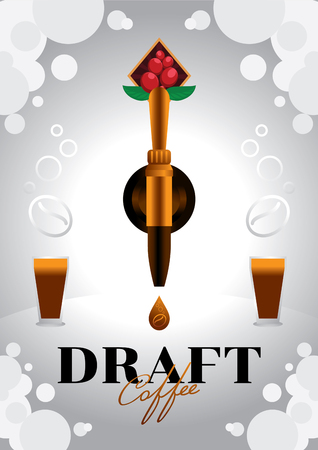 draft nitro coffee with golden tap vector illustration poster design with gas and glasses of nitro cold brew coffee