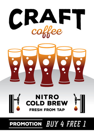 four glasses free one glass craft coffee poster design vector illustration with five fresh nitro cold brew coffee glasses with twin taps