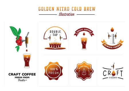 golden nitro cold brew coffee vector illustration with cheery fruts,glass,tap and drop element