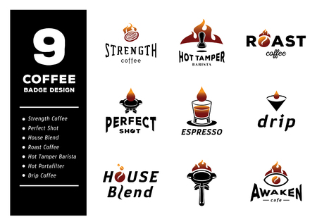 nine coffee badge design vector illustration with espresso drop,prefect shot coffee,drip,portafilter,tamper and utensil for barista