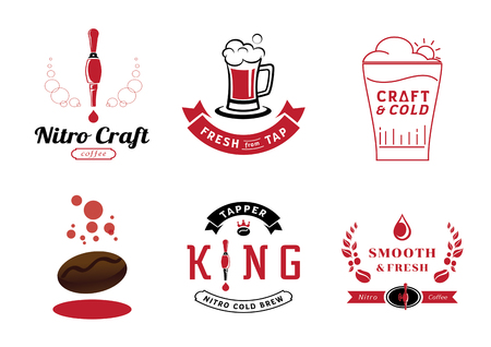 nitro coffee badge design and graphic element with tap ,glass ,coffee bean, and coffee drop vector illustration