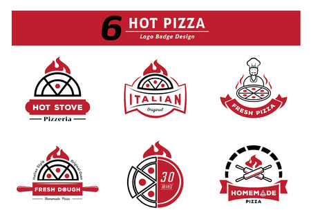 six hot pizza logo badge design set with hot pizza with firw,stove with fire,chef serve hot pizza,fresh dough,thierty minutes serve,homemade pizza with roll pin cross vector illustration