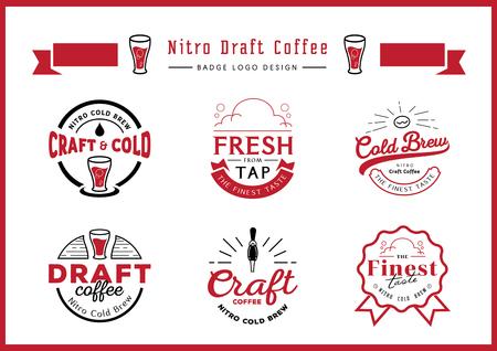 nitro draft coffee badge logo design set with craft coffee,draft coffee,glass,coffee bean,guarantee ribbon badge design,typography design vintage style vector illustration