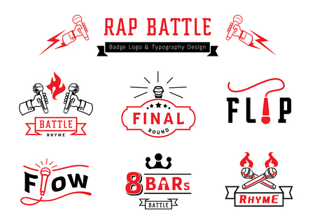rap battle badge logo and typography design with microphone,wire,fire and ribbon element vector illustration