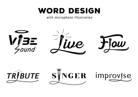 word design with microphone vector illustration set with vibe,live,flow,tribute,singer and improvise with microphone wire hand drawing style