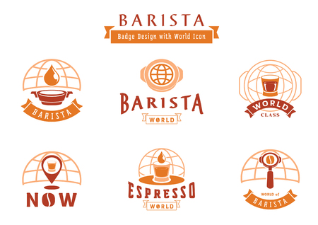 barista badge design with world icon and coffee utensil,coffee drop,filter,tamper Ilustracja