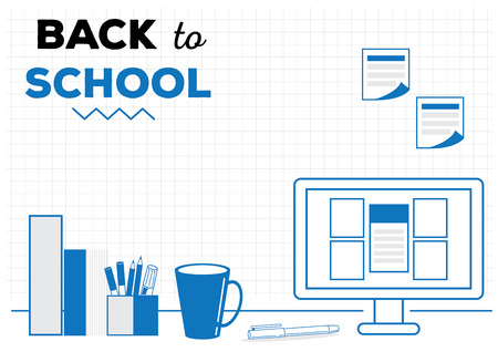 back to school background with pencil,pen,marker,computer and notes on workspace vector illustration