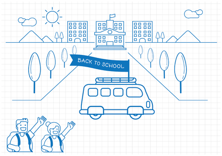 School bus back to school background design with boy and girl hi five hand line vector illustration on graph note paper Ilustracja