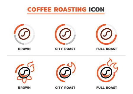 coffee roasting icon with coffee bean line icon with brown roasted,city roasted and full roasted. Ilustracja