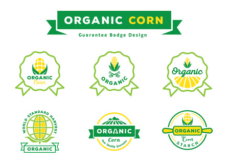 organic corn guarantee badge design set with corn field,corn fruit,rooling pin,world icon and ribbon element vector,illustration
