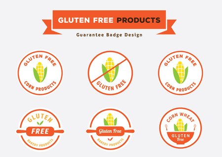 gluten free products badge design guarantee with corn vector illustration in round shape