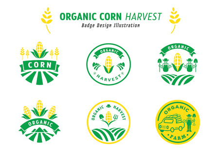 organic corn harvest badge design vector illustration with corn field,farmer,farm utensil,corn fruit,truck and mountain