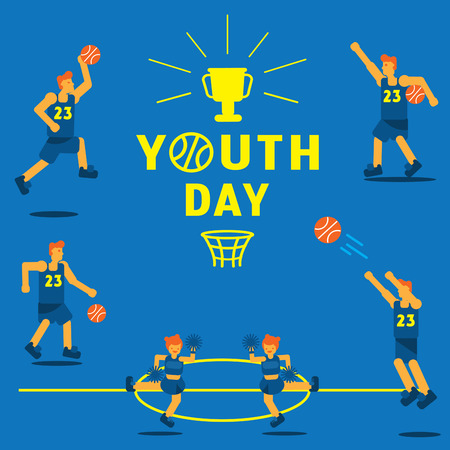youth day basketball championship background with basketball player in action with shoot,dunk,assist,dribbling in game Ilustracja