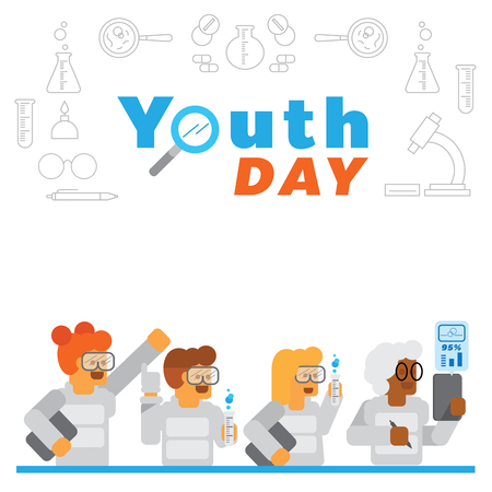 youth day background with science experiment in lab vector illustration with chemical utensil Ilustracja