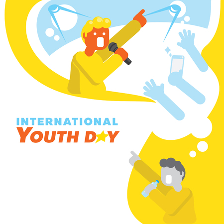 singer star dream youth day vector illustration background with teen boy singing with hand hold bottle