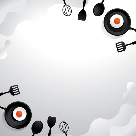 egg fried on pan and kitchen utensil vector illustration with white abstract background design in flat style