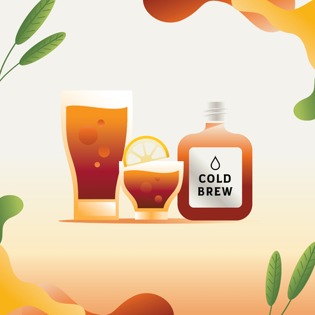 cold brew coffee flat style vector illustration with leaf element Ilustracja