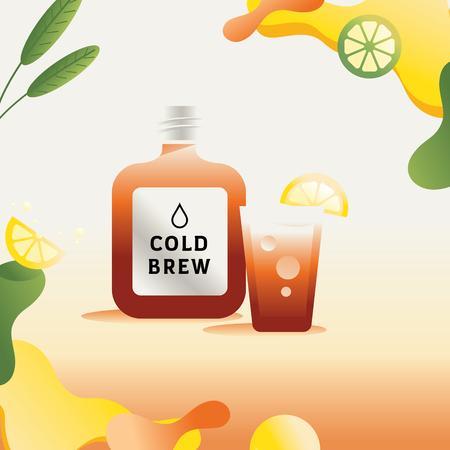 colorful nitro cold brew vector illustration with fresh lemon